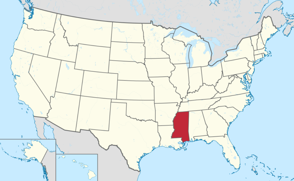 Mississippi location within the US