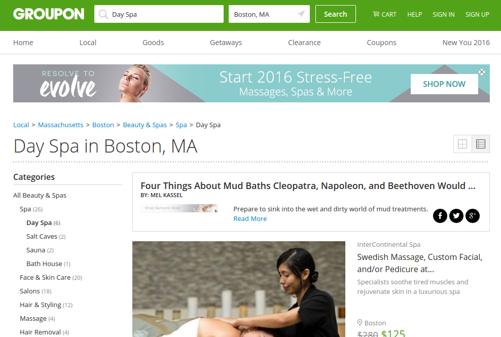 Check out Groupon's new wellness section for great savings